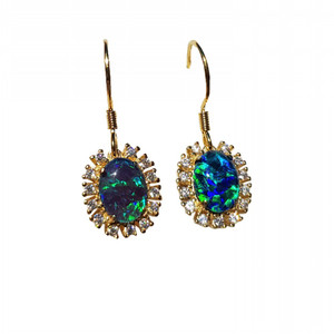 ECSTASY OF GOLD 18KT GOLD PLATED AND CUBIC ZIRCONIA DROP NATURAL AUSTRALIAN OPAL EARRINGS