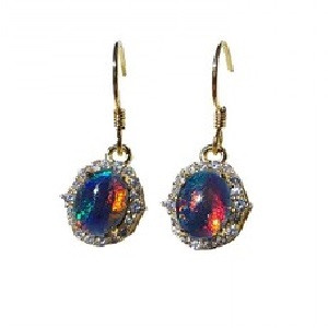 SHINE BRIGHT 18KT GOLD PLATED AND CUBIC ZIRCONIA DROP NATURAL AUSTRALIAN OPAL EARRINGS