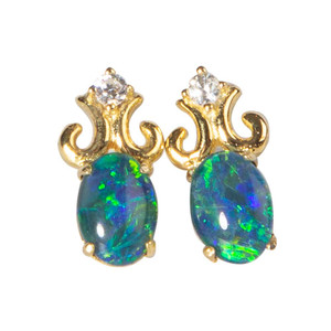 MERMAID TEMPTATION 18KT GOLD PLATED AND CUBIC ZIRCONIA NATURAL AUSTRALIAN OPAL EARRINGS
