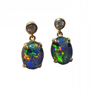 SWEET DREAMS 18KT GOLD PLATED AND CUBIC ZIRCONIA DROP NATURAL AUSTRALIAN OPAL EARRINGS