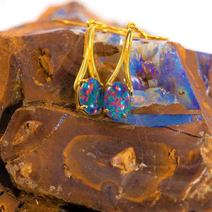 MELTED SUNLIGHT 18KT GOLD PLATED DROP NATURAL AUSTRALIAN OPAL EARRINGS
