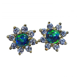 DEEP SEA 18KT GOLD PLATED NATURAL AUSTRALIAN OPAL EARRINGS