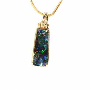 ENCHANTED RAINFORST 18KT GOLD AND DIAMOND NATURAL SOLID AUSTRALIAN BOULDER OPAL NECKLACE