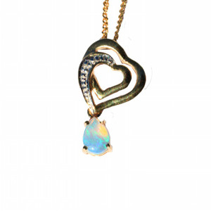 DEEP LOVE 9KT GOLD AND DIAMOND NATURAL SOLID AUSTRALIAN OPAL NECKLACE