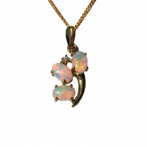 DEEP PASSION 9KT GOLD AND DIAMOND NATURAL SOLID AUSTRALIAN OPAL NECKLACE