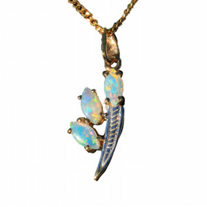 FINDING FREEDOM 9KY GOLD NATURAL SOLID AUSTRALIAN WHITE OPAL NECKLACE
