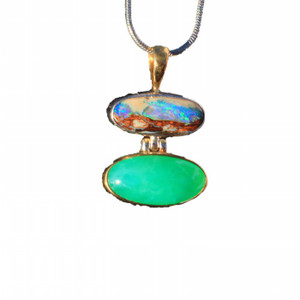 GREEN RIVER VALLEY 18KT GOLD PLATED NATURAL SOLID AUSTRALIAN WHITE OPAL NECKLACE