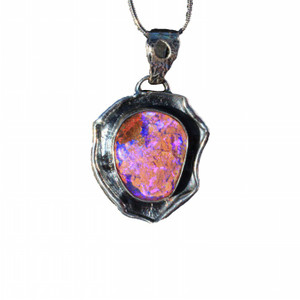 DEEP PURPLE POOL STERLING SILVER NATURAL SOLID AUSTRALIAN OPAL NECKLACE