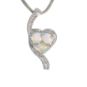 HAVE MY HEART STERLING SILVER NATURAL SOLID AUSTRALIAN WHITE OPAL NECKLACE