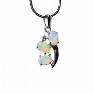 STERLING SILVER TORCH NATURAL SOLID AUSTRALIAN WHITE OPAL NECKLACE