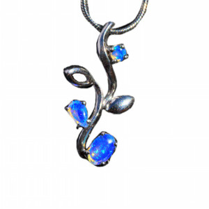 CRYSTAL BLUE OPAL ROOTS STERLING SILVER NATURAL SOLID AUSTRALIAN WHITE OPAL NECKLACE