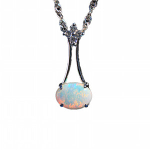 GEM DROP STERLING SILVER NATURAL SOLID AUSTRALIAN WHITE OPAL NECKLACE