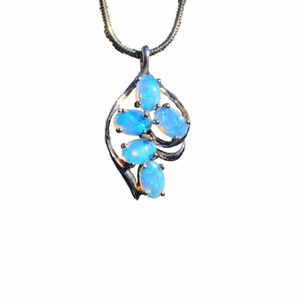 CORAL REEF STERLING SILVER NATURAL SOLID AUSTRALIAN WHITE OPAL NECKLACE