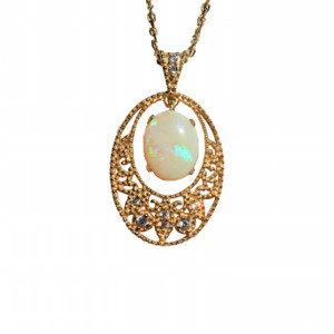 ENCHANTED MAGESTY 18kt GOLD PLATED NATURAL SOLID AUSTRALIAN WHITE OPAL NECKLACE