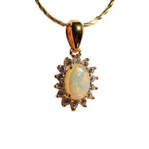 BRIGHTEST STAR 18kt GOLD PLATED NATURAL SOLID AUSTRALIAN WHITE OPAL NECKLACE