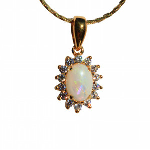 PRETTY PASTEL 18kt GOLD PLATED NATURAL SOLID AUSTRALIAN WHITE OPAL NECKLACE