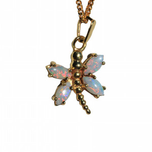 BUTTERFLY BRIGHT STERLING SILVER NATURAL SOLID AUSTRALIAN WHITE OPAL NECKLACE