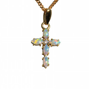 SHINNING CROSS 18kt GOLD PLATED NATURAL SOLID AUSTRALIAN WHITE OPAL NECKLACE
