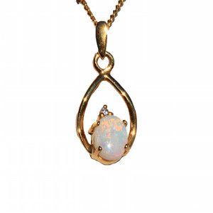 MOTHER NATURES 18kt GOLD PLATED NATURAL SOLID AUSTRALIAN WHITE OPAL NECKLACE