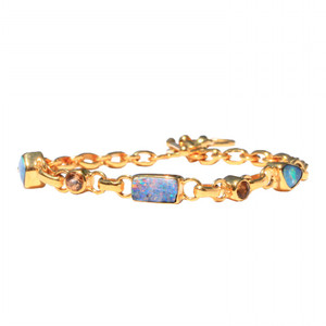 POWDERED RAINBOW 18kt GOLD PLATED CITRINE & NATURAL AUSTRALIAN OPAL BRACELET