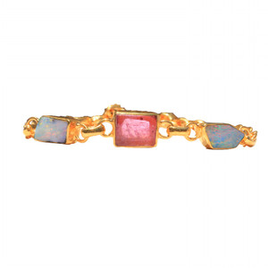 COTTON CANDY FLASH 18kt GOLD PLATED TORMALINE AND NATURAL AUSTRALIAN OPAL BRACELET