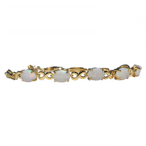 5 DROP FLASH 18kt GOLD PLATED NATURAL WHITE AUSTRALIAN OPAL BRACELET