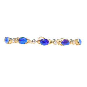 BLUE GREEN 5 TIER 18kt GOLD PLATED OPAL BRACELET