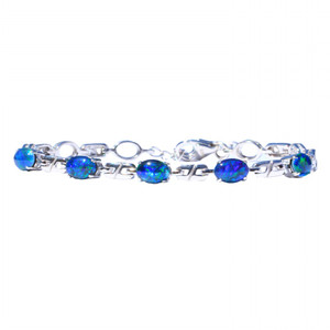 SKY GRASS 6 PART STERLING SILVER NATURAL AUSTRALIAN OPAL BRACELET