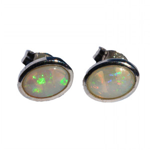 HOLOGRAM DANCE STERLING SILVER NATURAL WHITE AUSTRALIAN OPAL EARRINGS