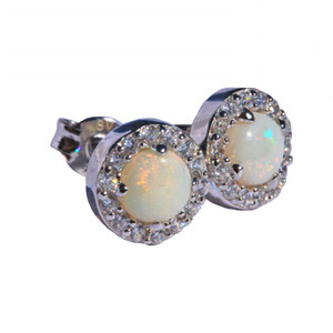 BRIGHT FIRE STERLING SILVER NATURAL WHITE AUSTRALIAN OPAL EARRINGS