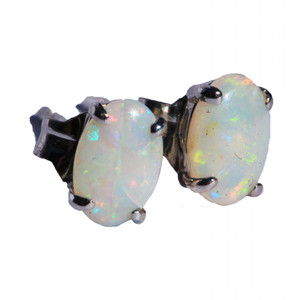 CONFETTI GLITZ STERLING SILVER NATURAL WHITE AUSTRALIAN OPAL EARRINGS