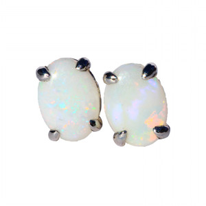 BRIGHT WHITE STERLING SILVER NATURAL WHITE AUSTRALIAN OPAL EARRINGS