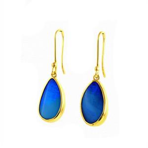 BLUE DROP 18 KT GOLD NATURAL SOLID AUSTRALIAN BOULDER OPAL EARRINGS