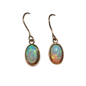 RADIANCE 9KT GOLD SOLID NATURAL AUSTRALIAN WHITE OPAL EARRINGS