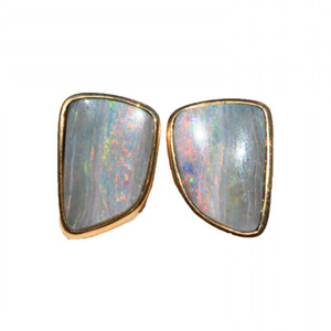 RAINBOW RIVER 14KT GOLD SOLID NATURAL AUSTRALIAN OPAL STUD EARRINGS
