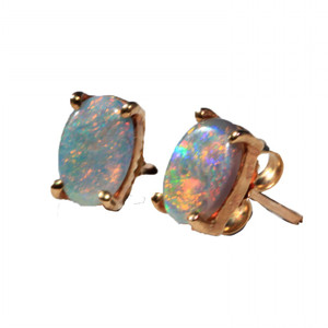 BRIGHT RAINBOW FLASH 9KT GOLD SOLID NATURAL AUSTRALIAN OPAL STUD EARRINGS