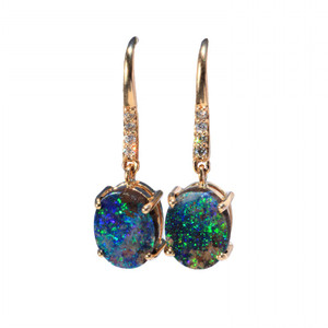 BRIGHT GALAXY 9KT GOLD & DIAMOND SOLID NATURAL AUSTRALIAN BOULDER OPAL EARRINGS