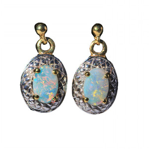 CRYSTAL CLEAR 18KT GOLD PLATED NATURAL AUSTRALIAN WHITE OPAL EARRINGS