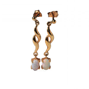 DROP DOWN 18KT GOLD PLATED NATURAL AUSTRALIAN WHITE OPAL EARRINGS