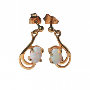 ANGEL WINGS 18KT GOLD PLATED NATURAL AUSTRALIAN WHITE OPAL EARRINGS