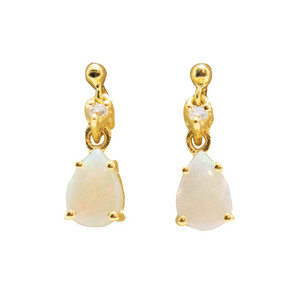 BALANCE DROP 18KT GOLD PLATED NATURAL AUSTRALIAN WHITE OPAL EARRINGS
