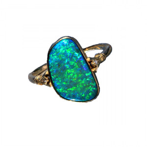 BLUE GREEN DREAM 9KT GOLD & DIAMOND NATURAL AUSTRALIAN OPAL RING