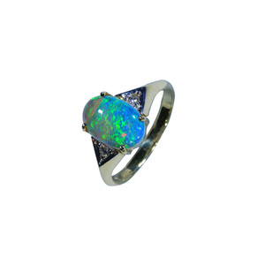 BLISS CRYSTAL 14KT GOLD & DIAMOND NATURAL AUSTRALIAN WHITE OPAL RING