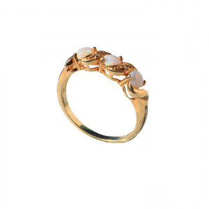 BELLE TRINITEE 18KT GOLD PLATED AUSTRALIAN OPAL RING