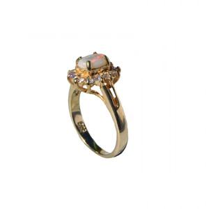 CHRISANTHEME 18KT GOLD PLATED AUSTRALIAN OPAL RING