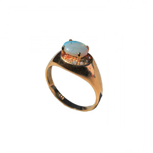 BEDROCK 18KT GOLD PLATED AUSTRALIAN OPAL RING