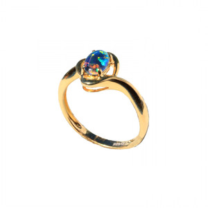 EYE BRIGHT 18KT GOLD PLATED AUSTRALIAN OPAL RING