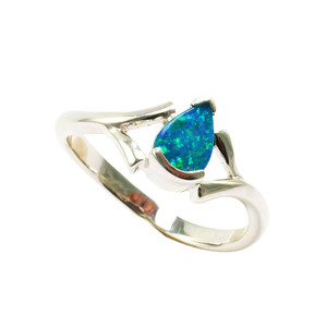 CLOUD  GRASS STERLING SILVER AUSTRALIAN OPAL RING