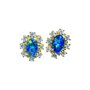 GRASS SKY FLASH 18KT GOLD PLATED NATURAL AUSTRALIAN OPAL STUD EARRINGS