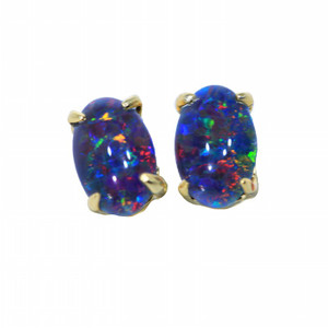 HOLOGRAM IRIS 18KT GOLD PLATED NATURAL AUSTRALIAN OPAL STUD EARRINGS